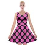 CIRCLES2 BLACK MARBLE & PINK BRUSHED METAL (R) Velvet Skater Dress