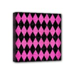 DIAMOND1 BLACK MARBLE & PINK BRUSHED METAL Mini Canvas 4  x 4