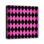 DIAMOND1 BLACK MARBLE & PINK BRUSHED METAL Mini Canvas 6  x 6