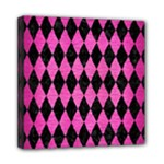 DIAMOND1 BLACK MARBLE & PINK BRUSHED METAL Mini Canvas 8  x 8