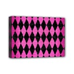 DIAMOND1 BLACK MARBLE & PINK BRUSHED METAL Mini Canvas 7  x 5