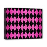 DIAMOND1 BLACK MARBLE & PINK BRUSHED METAL Canvas 10  x 8