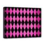DIAMOND1 BLACK MARBLE & PINK BRUSHED METAL Canvas 14  x 11