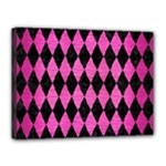 DIAMOND1 BLACK MARBLE & PINK BRUSHED METAL Canvas 16  x 12