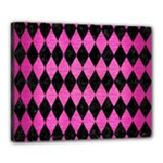 DIAMOND1 BLACK MARBLE & PINK BRUSHED METAL Canvas 20  x 16