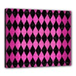 DIAMOND1 BLACK MARBLE & PINK BRUSHED METAL Canvas 24  x 20
