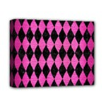 DIAMOND1 BLACK MARBLE & PINK BRUSHED METAL Deluxe Canvas 14  x 11
