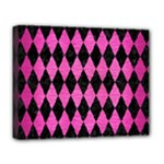 DIAMOND1 BLACK MARBLE & PINK BRUSHED METAL Deluxe Canvas 20  x 16