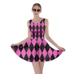 DIAMOND1 BLACK MARBLE & PINK BRUSHED METAL Skater Dress