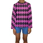 DIAMOND1 BLACK MARBLE & PINK BRUSHED METAL Kids  Long Sleeve Swimwear