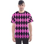 DIAMOND1 BLACK MARBLE & PINK BRUSHED METAL Men s Sports Mesh Tee