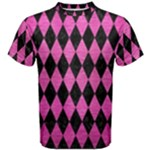 DIAMOND1 BLACK MARBLE & PINK BRUSHED METAL Men s Cotton Tee
