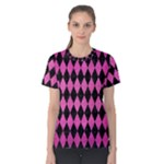 DIAMOND1 BLACK MARBLE & PINK BRUSHED METAL Women s Cotton Tee