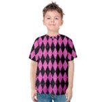 DIAMOND1 BLACK MARBLE & PINK BRUSHED METAL Kids  Cotton Tee