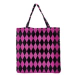 DIAMOND1 BLACK MARBLE & PINK BRUSHED METAL Grocery Tote Bag