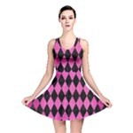 DIAMOND1 BLACK MARBLE & PINK BRUSHED METAL Reversible Skater Dress