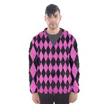 DIAMOND1 BLACK MARBLE & PINK BRUSHED METAL Hooded Wind Breaker (Men)