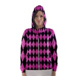 DIAMOND1 BLACK MARBLE & PINK BRUSHED METAL Hooded Wind Breaker (Women)