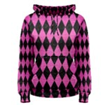 DIAMOND1 BLACK MARBLE & PINK BRUSHED METAL Women s Pullover Hoodie