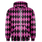 DIAMOND1 BLACK MARBLE & PINK BRUSHED METAL Men s Zipper Hoodie