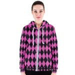 DIAMOND1 BLACK MARBLE & PINK BRUSHED METAL Women s Zipper Hoodie