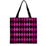 DIAMOND1 BLACK MARBLE & PINK BRUSHED METAL Zipper Grocery Tote Bag