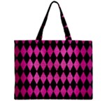 DIAMOND1 BLACK MARBLE & PINK BRUSHED METAL Zipper Mini Tote Bag
