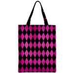 DIAMOND1 BLACK MARBLE & PINK BRUSHED METAL Zipper Classic Tote Bag