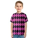 DIAMOND1 BLACK MARBLE & PINK BRUSHED METAL Kids  Sport Mesh Tee
