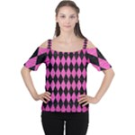 DIAMOND1 BLACK MARBLE & PINK BRUSHED METAL Cutout Shoulder Tee