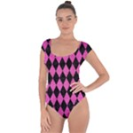 DIAMOND1 BLACK MARBLE & PINK BRUSHED METAL Short Sleeve Leotard