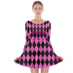 DIAMOND1 BLACK MARBLE & PINK BRUSHED METAL Long Sleeve Skater Dress