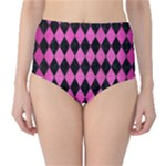DIAMOND1 BLACK MARBLE & PINK BRUSHED METAL High-Waist Bikini Bottoms