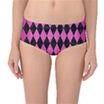 DIAMOND1 BLACK MARBLE & PINK BRUSHED METAL Mid-Waist Bikini Bottoms