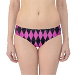 DIAMOND1 BLACK MARBLE & PINK BRUSHED METAL Hipster Bikini Bottoms