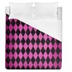 DIAMOND1 BLACK MARBLE & PINK BRUSHED METAL Duvet Cover (Queen Size)
