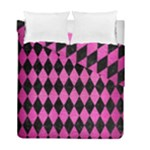 DIAMOND1 BLACK MARBLE & PINK BRUSHED METAL Duvet Cover Double Side (Full/ Double Size)