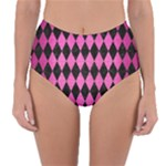 DIAMOND1 BLACK MARBLE & PINK BRUSHED METAL Reversible High-Waist Bikini Bottoms
