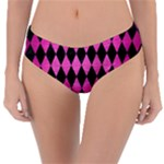 DIAMOND1 BLACK MARBLE & PINK BRUSHED METAL Reversible Classic Bikini Bottoms