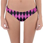 DIAMOND1 BLACK MARBLE & PINK BRUSHED METAL Reversible Hipster Bikini Bottoms
