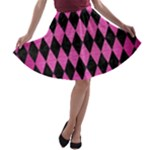 DIAMOND1 BLACK MARBLE & PINK BRUSHED METAL A-line Skater Skirt