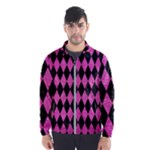 DIAMOND1 BLACK MARBLE & PINK BRUSHED METAL Wind Breaker (Men)