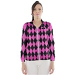 DIAMOND1 BLACK MARBLE & PINK BRUSHED METAL Wind Breaker (Women)