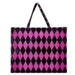 DIAMOND1 BLACK MARBLE & PINK BRUSHED METAL Zipper Large Tote Bag