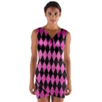 DIAMOND1 BLACK MARBLE & PINK BRUSHED METAL Wrap Front Bodycon Dress