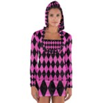 DIAMOND1 BLACK MARBLE & PINK BRUSHED METAL Long Sleeve Hooded T-shirt