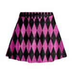 DIAMOND1 BLACK MARBLE & PINK BRUSHED METAL Mini Flare Skirt