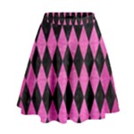 DIAMOND1 BLACK MARBLE & PINK BRUSHED METAL High Waist Skirt
