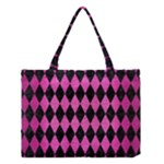 DIAMOND1 BLACK MARBLE & PINK BRUSHED METAL Medium Tote Bag