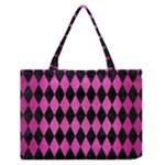 DIAMOND1 BLACK MARBLE & PINK BRUSHED METAL Zipper Medium Tote Bag